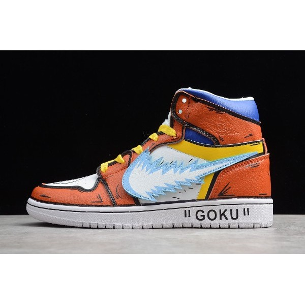 Men/Women Air Jordan 1 High Goku Orange White-Black-Blue-Yellow