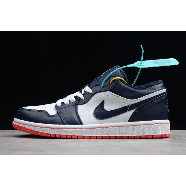 Men Air Jordan 1 Low Obsidian Ember Glow-White 553558-481