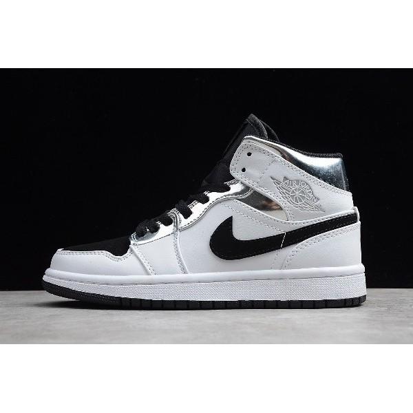 Men/Women Air Jordan 1 Mid Alternate Think 16 White Silver-Black