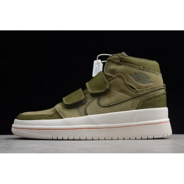 Men/Women Air Jordan 1 Retro High Double Strap Olive Canvas Shoes
