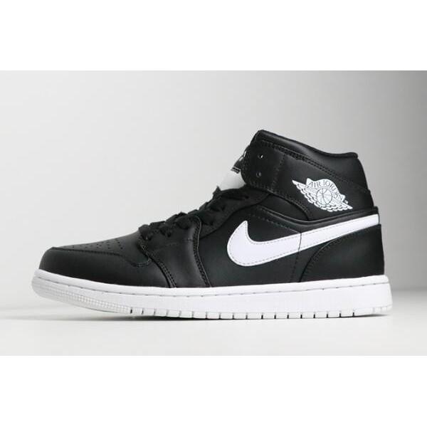 Men Air Jordan 1 Retro Mid Black White 554724-038 Shoes