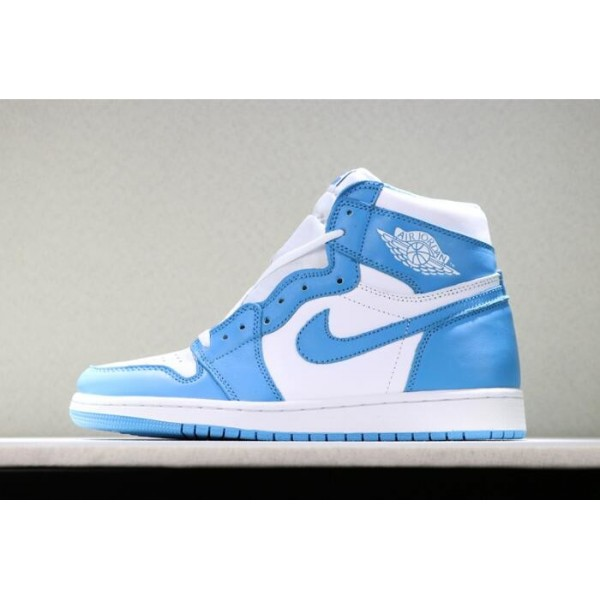 Men Air Jordan 1s Retro High OG UNC White Dark Powder Blue
