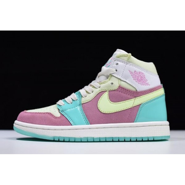 Women Air Jordan 1 Easter Sail-Hyper Turquoise Barely Volt