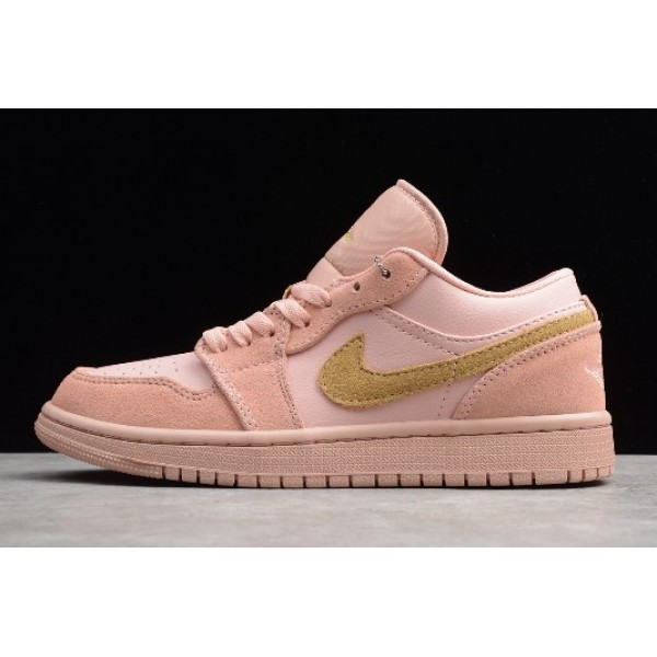 Women Air Jordan 1 Low Coral Stardust Pink Club Gold