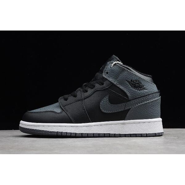 Women Air Jordan 1 Mid Black Dark Grey-Summit White