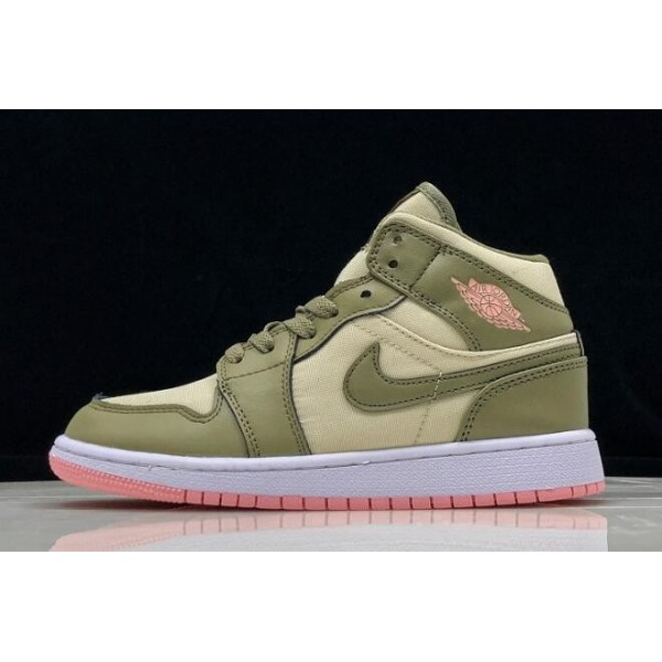 Women Air Jordan 1 Mid Trooper Bleached Coral Light Orewood Brown