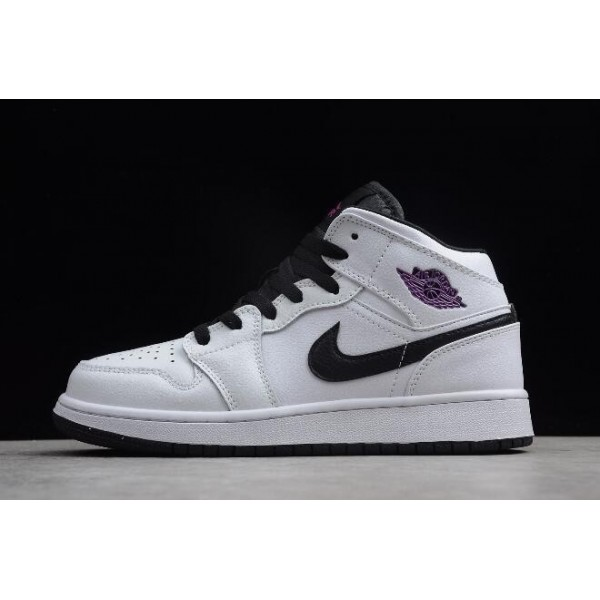 Women Air Jordan 1 Mid White Black Fuschia Blast