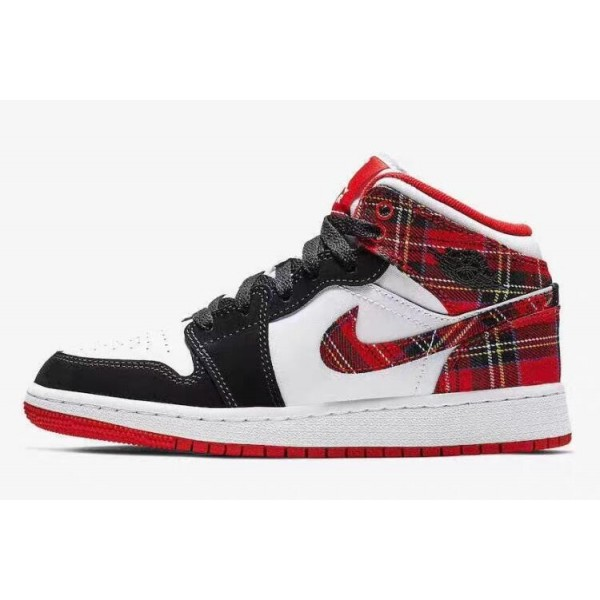 Women Air Jordan 1 Mid White Plaid Shoes