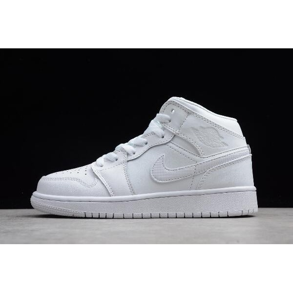 Women Air Jordan 1 Mid White Pure Platinum 554724-104