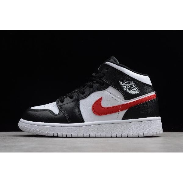 Women Air Jordan 1 Mid Multi Swoosh Black White-University Red