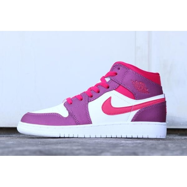 Women Air Jordan 1 Mid True Berry Rush Pink Shoes