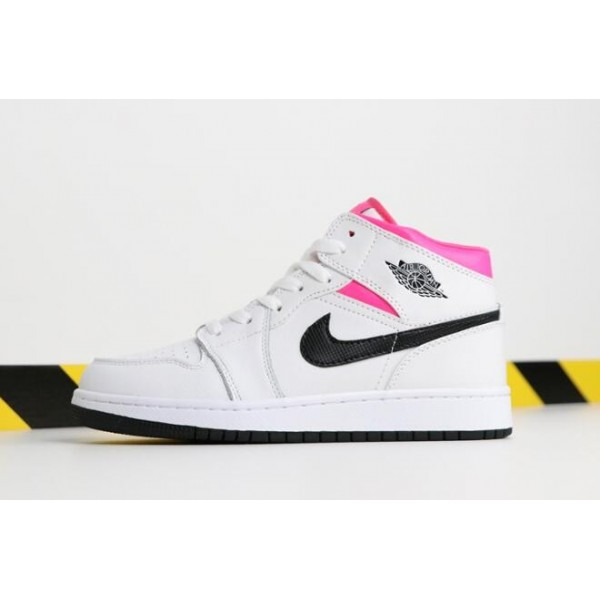 Women Air Jordan 1 Mid White Black-Hyper Pink