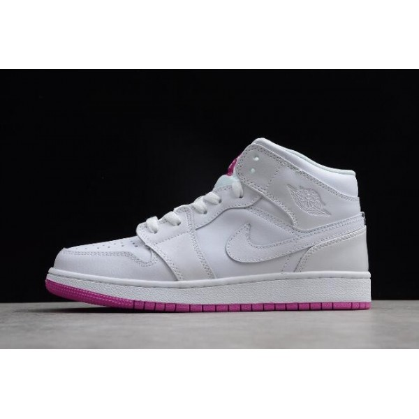 Women Grade School Air Jordan 1 Mid White Fuchsia Blast