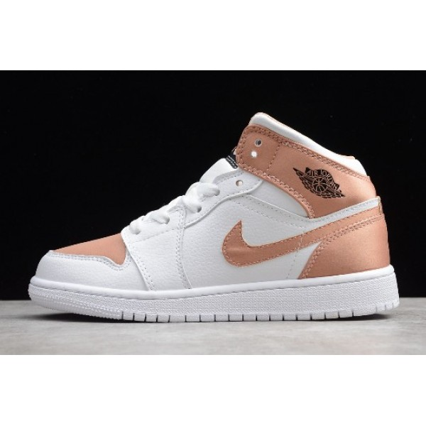 Women Shoes Air Jordan 1 Mid White Rose Gold