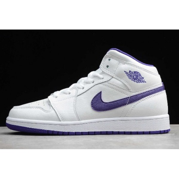 Women Shoes Air Jordan 1 Retro High White Court Purple
