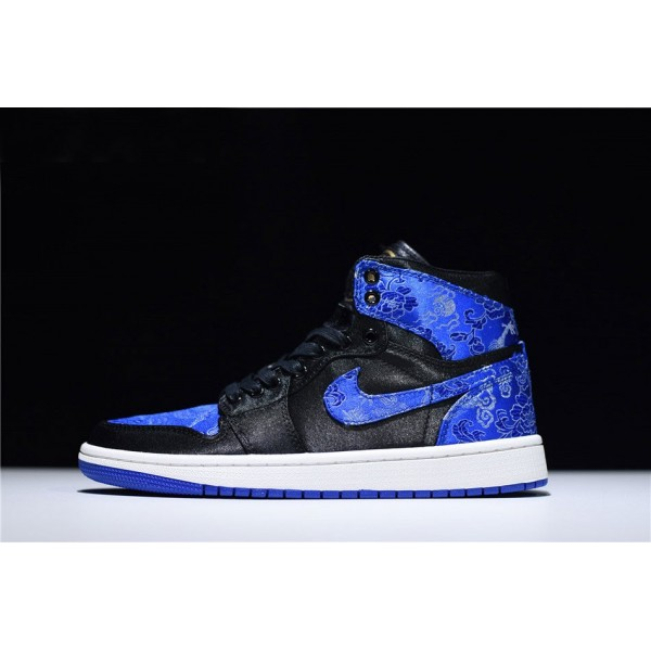 Men HZP Custom Air Jordan 1 High Dragon Black-Royal Blue-White
