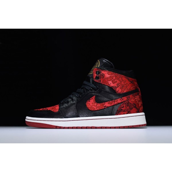 Men HZP Custom Air Jordan 1 High Dragon Black University Red-White