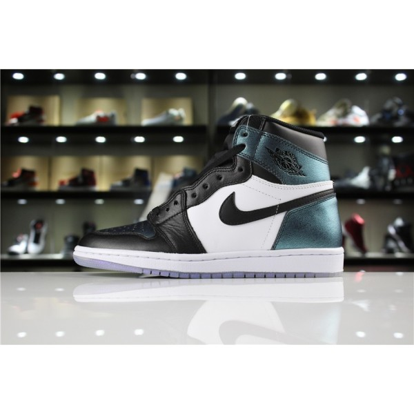 Men Air Jordan 1 High OG All-Star Black Metallic Silver-White