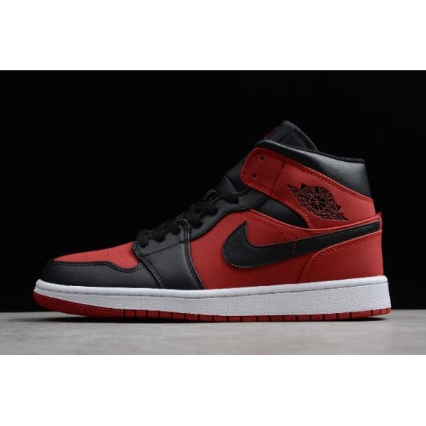 Men Air Jordan 1 Mid Banned Gym Red Black-White
