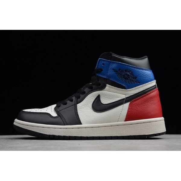 Men Air Jordan 1 Retro High OG Black White-Campus Red Shoes