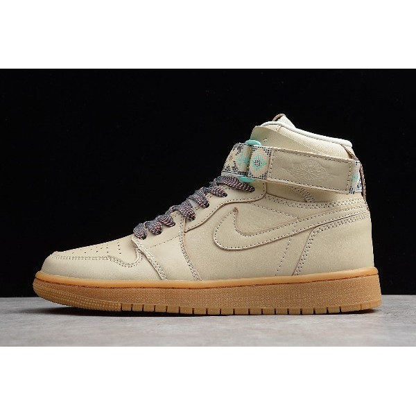 Men Air Jordan 1 Retro High Top Strap N7 Light Cream