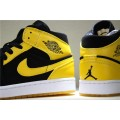 Men Air Jordan 1s Retro Mid New Love Black Varsity Maize-White