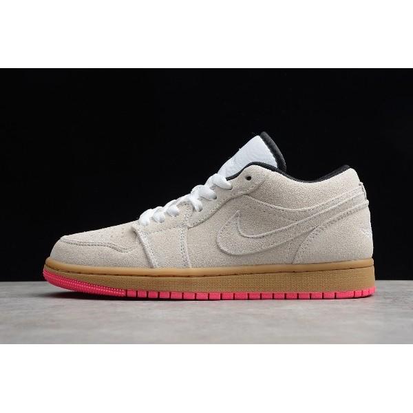 Men Shoes Air Jordan 1 Low Beige Pink 553558-119