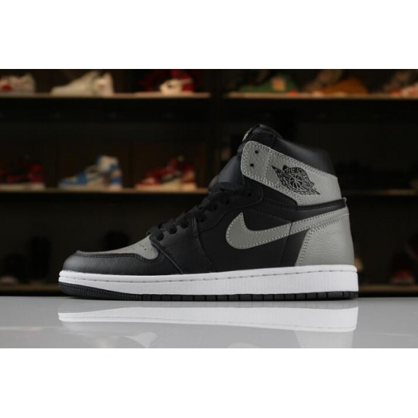 Men Air Jordan 1 Retro High OG Shadow Black Medium Grey-White
