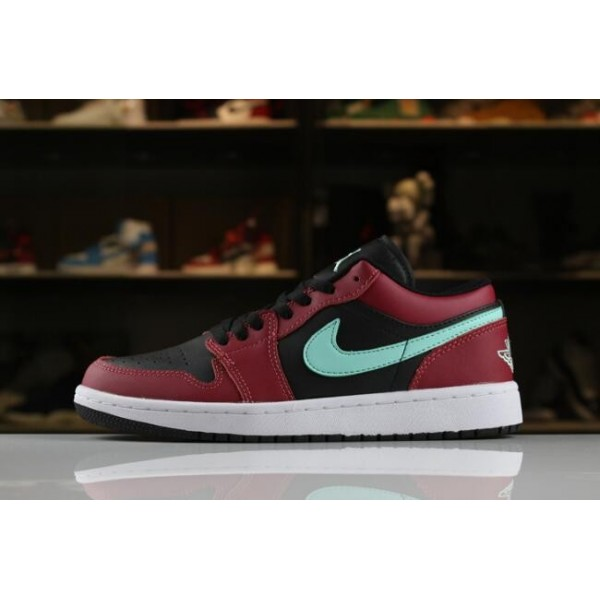 Men/Women Air Jordan 1 Low Black Green Pulse-Gym Red-White