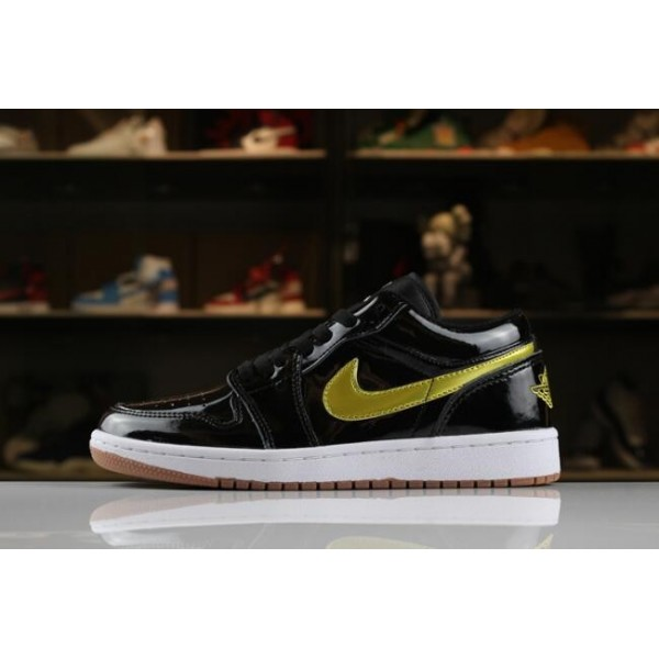 Men/Women Air Jordan 1 Low Patent Leather Black Gold-White-Gum
