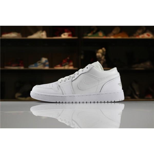 Men/Women Air Jordan 1 Low Triple White 553558-170