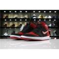 Men/Women Air Jordan 1 Retro High Flyknit Banned Black Varsity Red-White