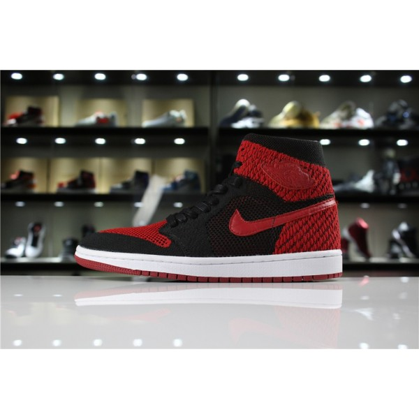 Men/Women Air Jordan 1 Retro High Flyknit Banned Black Varsity Red-White