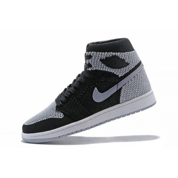 Men Air Jordan 1 Flyknit Shadow Black Medium Grey-White