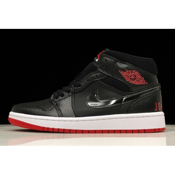 Men Air Jordan 1 Mid Premium Bred Black University Red-White