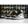 Men/Women Air Jordan 1 Retro High OG NRG Gold Toe Black White