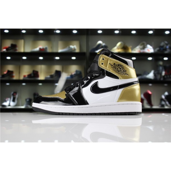 Men/Women Air Jordan 1 Retro High OG NRG Gold Toe Black White