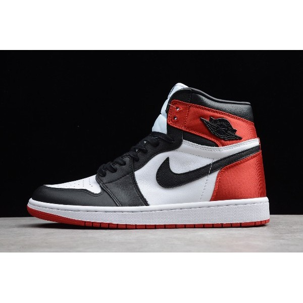 Men/Women New Air Jordan 1 High Satin Black Toe