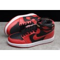 Men New Air Jordan 1 High Strap Bred Black Gym Red-White