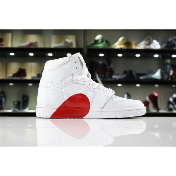 Men/Women New Air Jordan 1 High White Half Heart and
