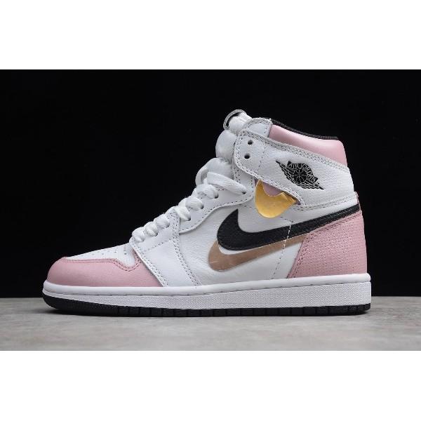Women New Air Jordan 1 High White Pink-Black For
