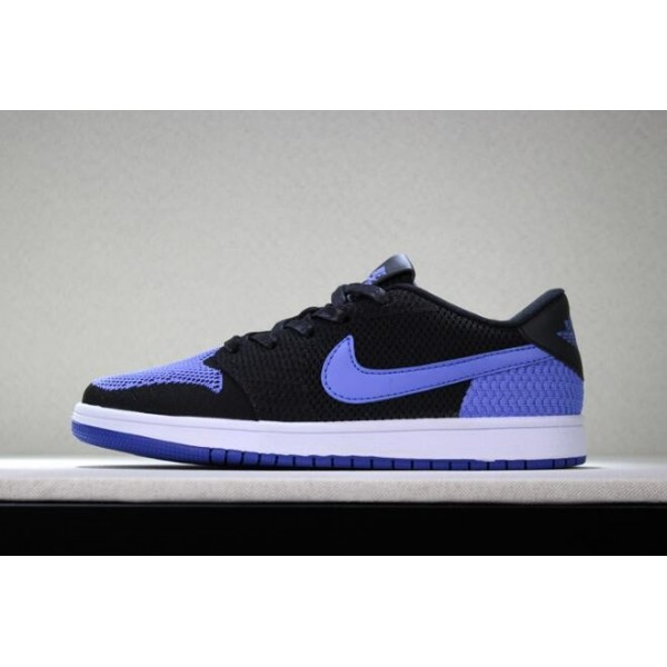 Men New Air Jordan 1 Low Flyknit Royal Black Game Royal-White