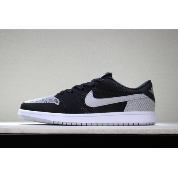 Men New Air Jordan 1 Low Flyknit Shadow Black Wolf Grey-White