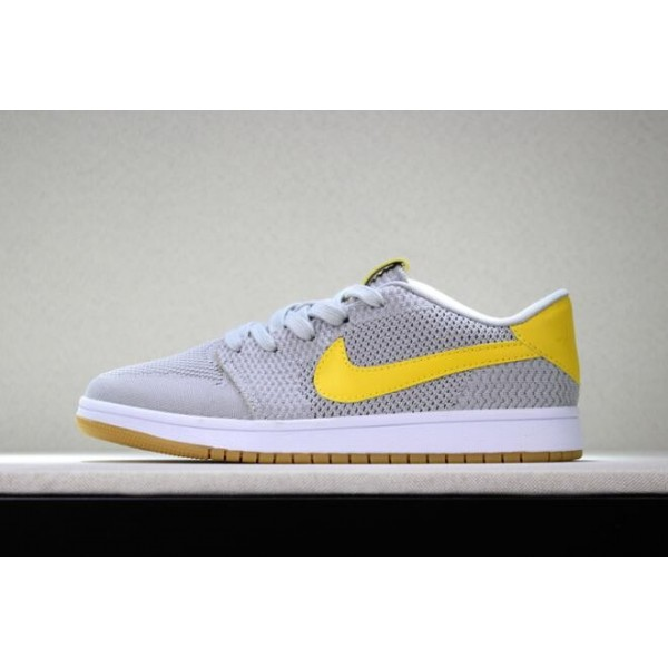 Men New Air Jordan 1 Low Flyknit Wolf Grey Yellow-Gum