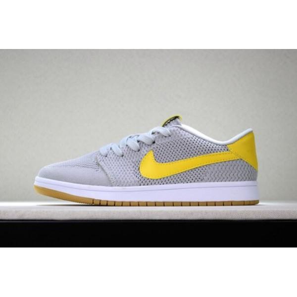 Men New Air Jordan 1 Low Flyknit Wolf Grey Yellow-Gum