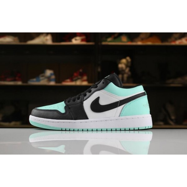 Men/Women New Air Jordan 1 Low White Emerald Rise-Black