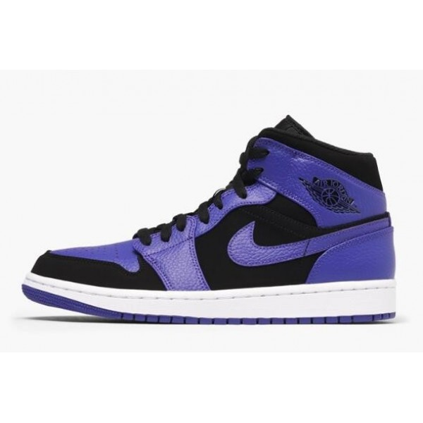 Men New Air Jordan 1 Mid Purple Black Dark Concord-White