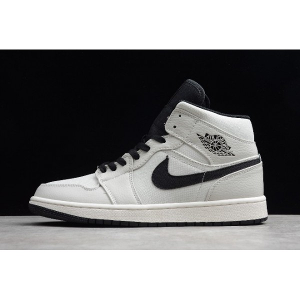 Men/Women New Air Jordan 1 Mid SE Canvas Light Bone Cone-Black-Sail