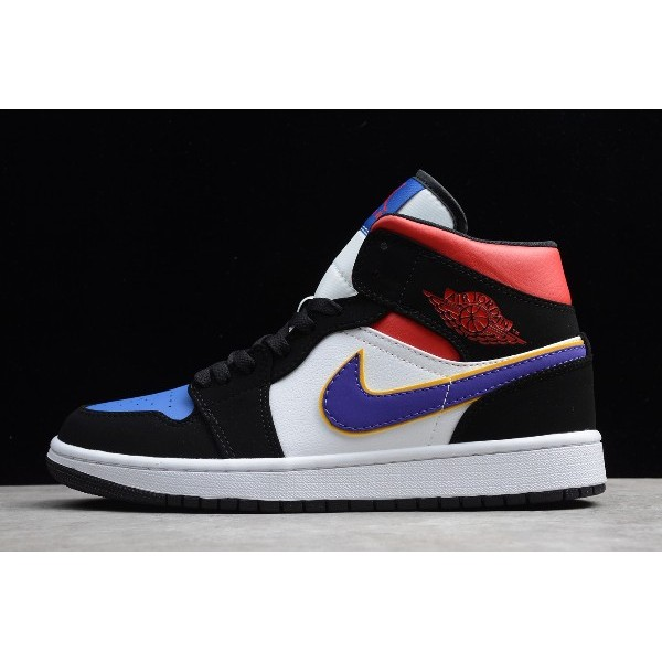 Men New Air Jordan 1 Mid SE Rivals Field Purple White-Gym Red