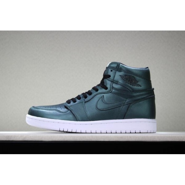 Men/Women New Jordans Air Jordan 1 High Chameleon Dark Green Black-White